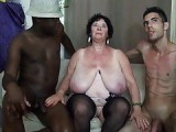 BBW Granny fucked by 2 men in DP